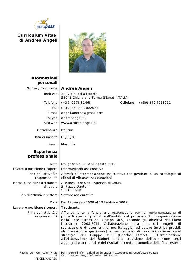 Fac Simile Curriculum Vitae Europeo Firmakoek
