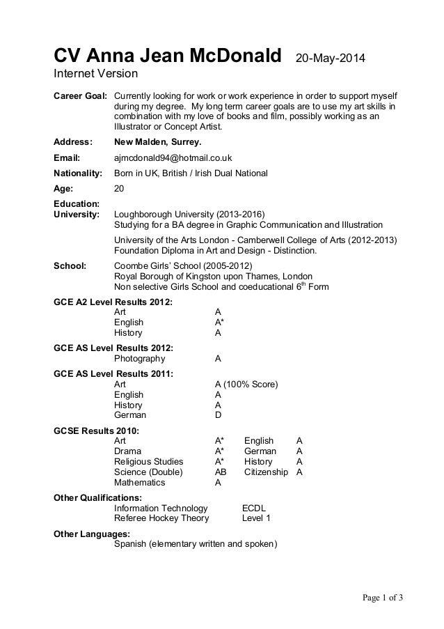 Cv Anna Jean Mcdonald 20 May 2014