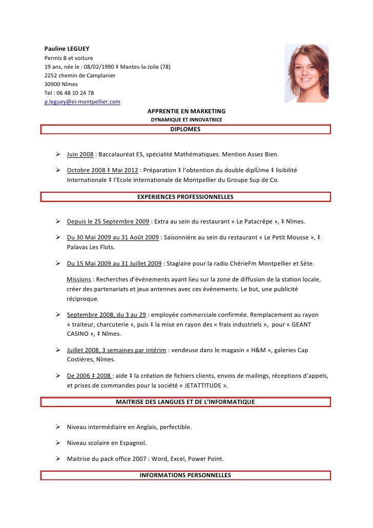 cv apprentie marketing