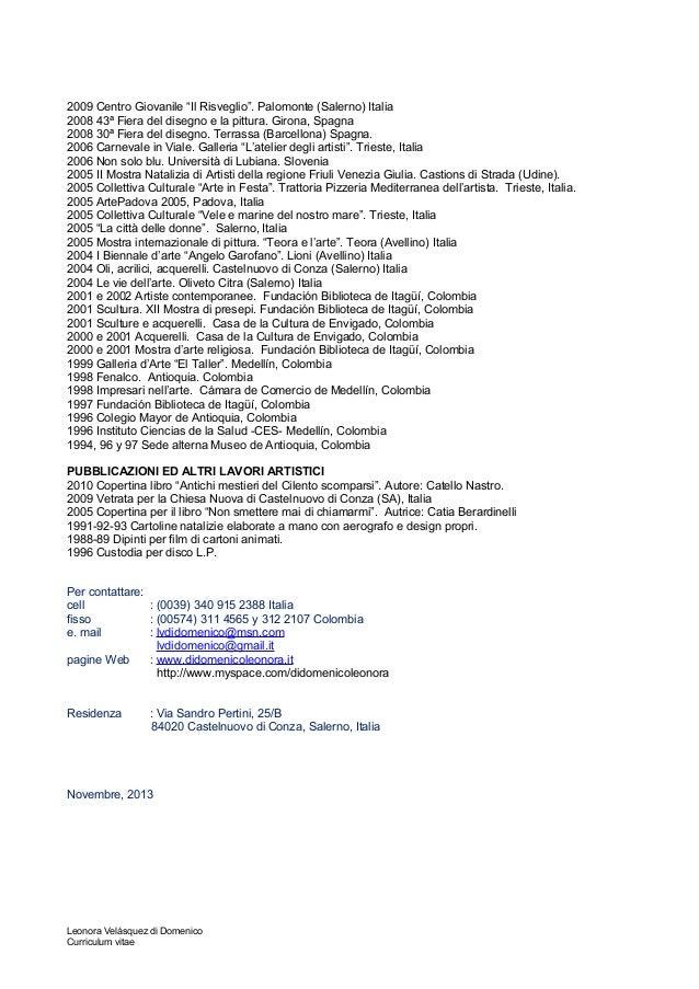 Curriculum Vitae Artistico Italiano
