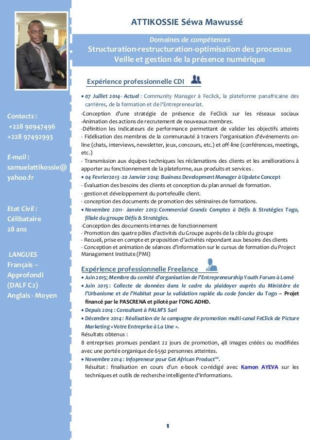 1 Con Expérience professionnelle CDI  07 Juillet 2014- Actuel : Community Manager à Feclick, la plateforme panafricaine d...