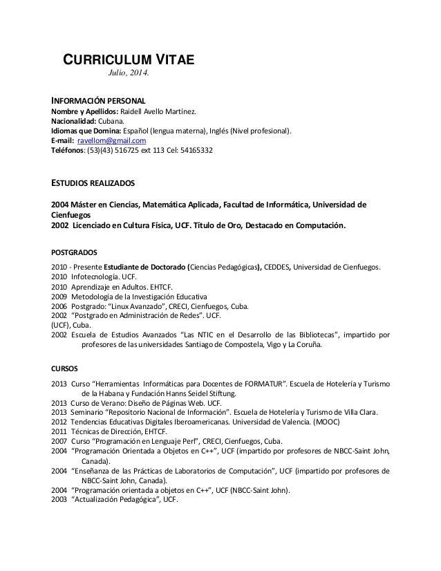 Cv Avello Martinez Jul 2014 Spanishweb