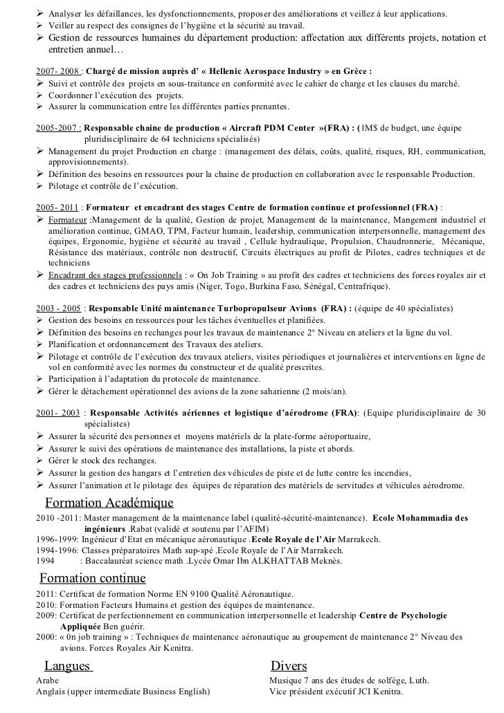 exemple de cv ingenieur production en aeronautique