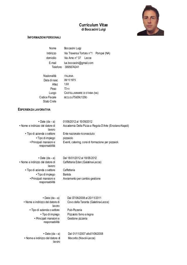 curriculum vitae europeo esempio compilato cameriera