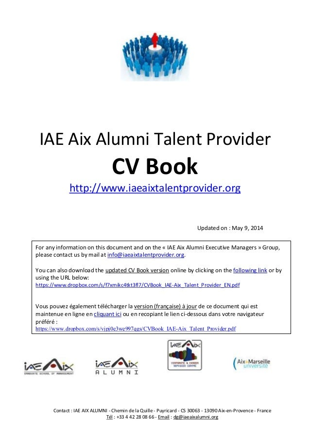 cv book iae aix talent provider for executive managers english version