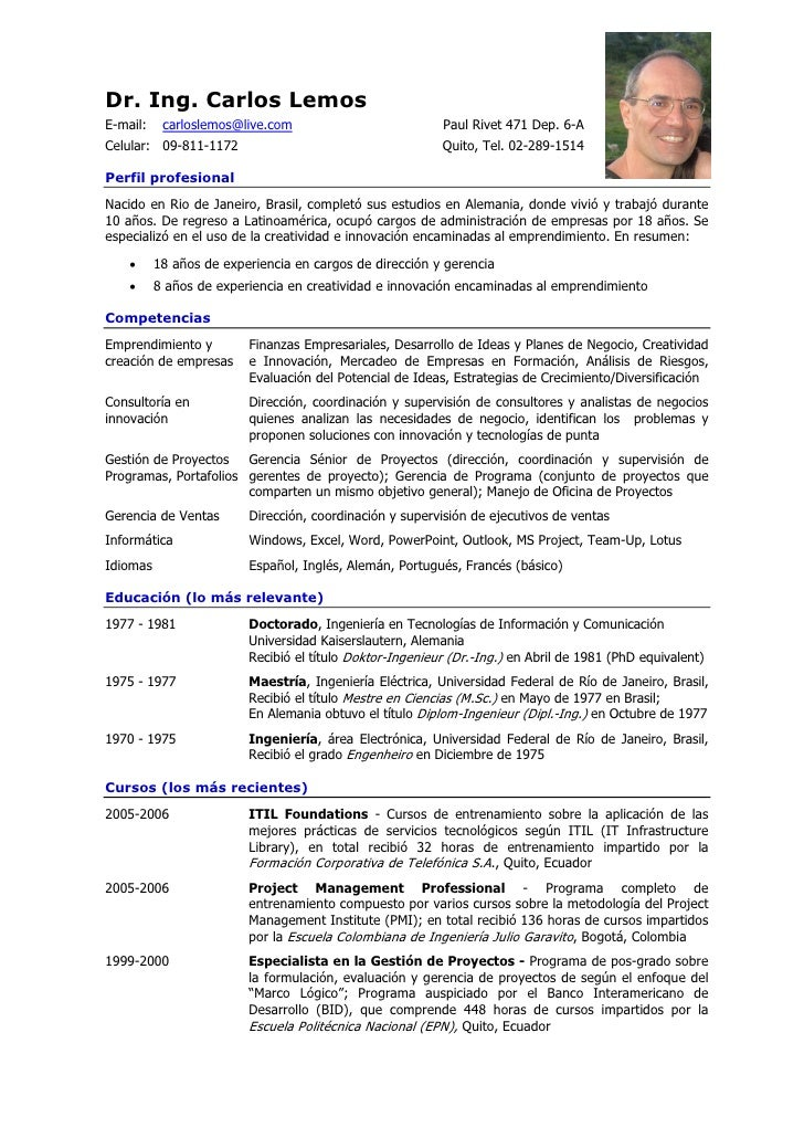 Curriculum Vitae De Carlos Lemos En Espanol