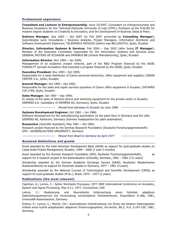 resume for ms in germany