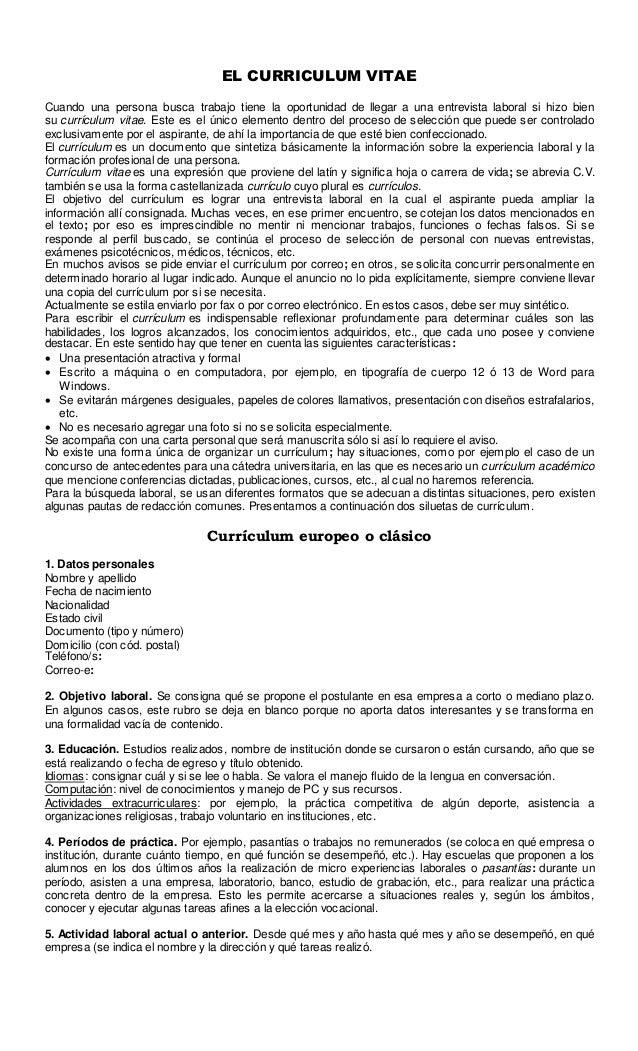 Cv, carta de presentación y solicitud