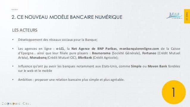 PAGE 22  2. CE NOUVEAU MODÈLE BANCAIRE NUMÉRIQUE  LES ACTEURS  •Développement des réseaux sociaux pour la Banque;  •Les ag...