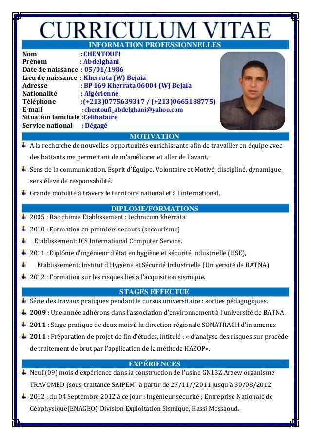 cv chentoufi abdelghani 2015