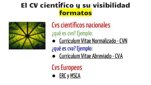 El Cv Cientifico Y Su Visibilidad Formatos Gestion Y Difusion En In