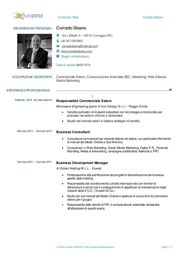Curriculum Vitae Corrado Sbano © Unione europea, 2002-2013 | http://europass.cedefop.europa.eu Pagina 1 / 3 INFORMAZIONI P...