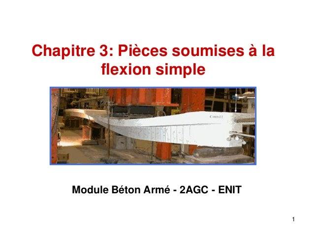 Chapitre 3: Pièces soumises à la flexion simple  Module Béton Armé - 2AGC - ENIT 1