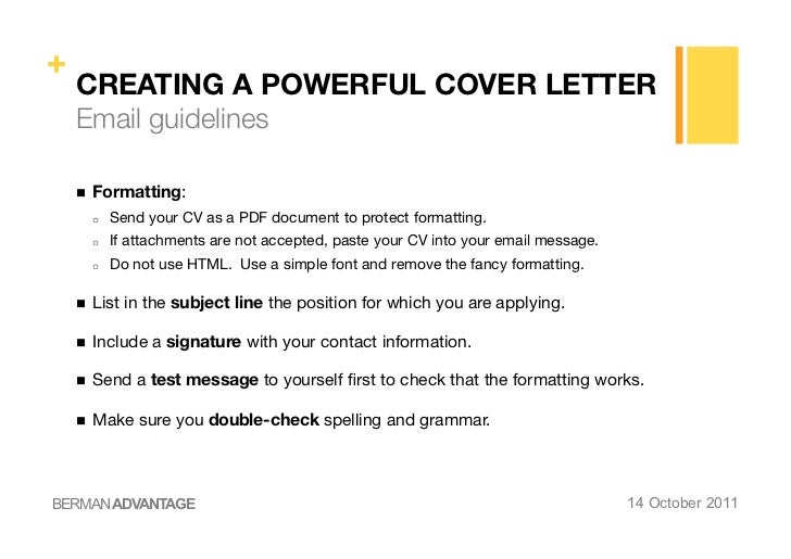 include cover letter in body of email or as attachment