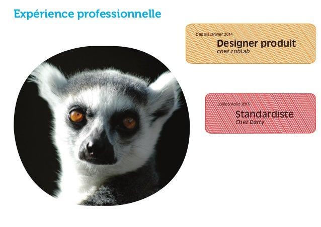 Expérience professionnelle  Designer produit  chez zobLab  Juillet/Août 2013  Standardiste  Chez Darty  Depuis janvier 201...