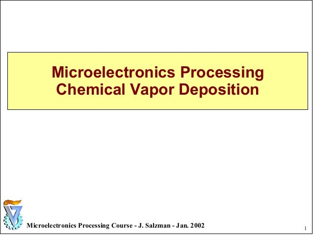 1Microelectronics Processing Course - J. Salzman - Jan. 2002 Microelectronics Processing Chemical Vapor Deposition