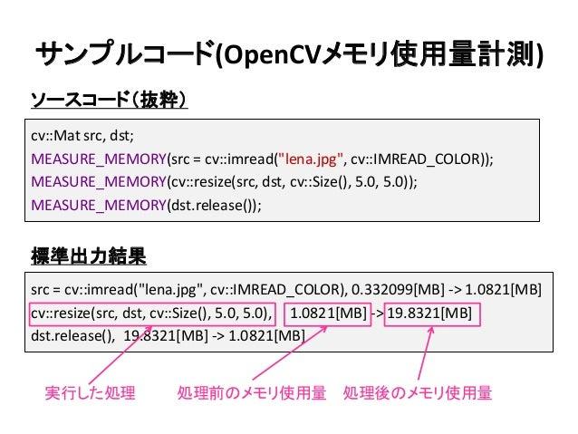 "src = cv::imread(""lena.jpg"", cv::IMREAD_COLOR), 0.332099[MB] -> 1.0821[MB] cv::resize(src, dst, cv::Size(), 5.0, 5.0), 1.0..."