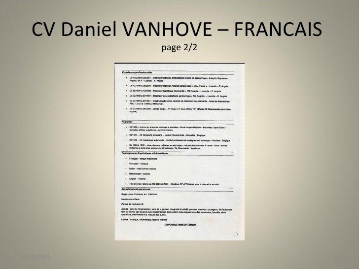 cv daniel vanhove belgique