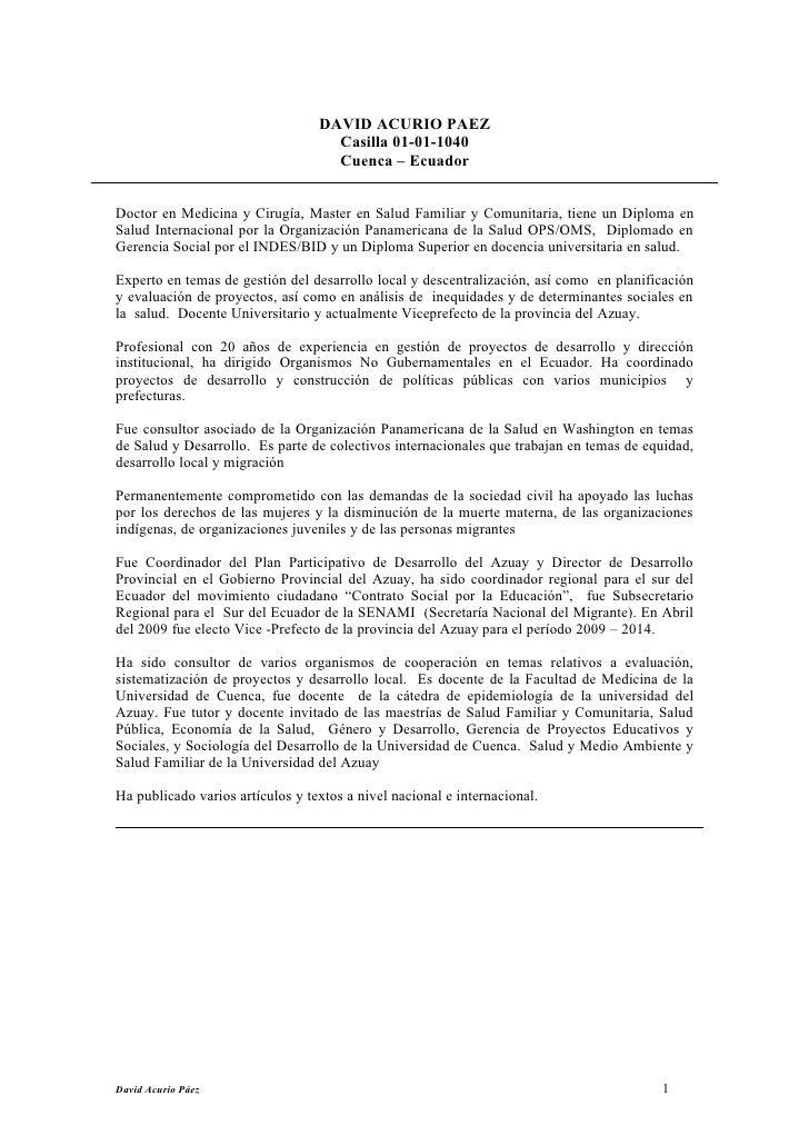 DAVID ACURIO PAEZ                                     Casilla 01-01-1040                                     Cuenca – Ecua...