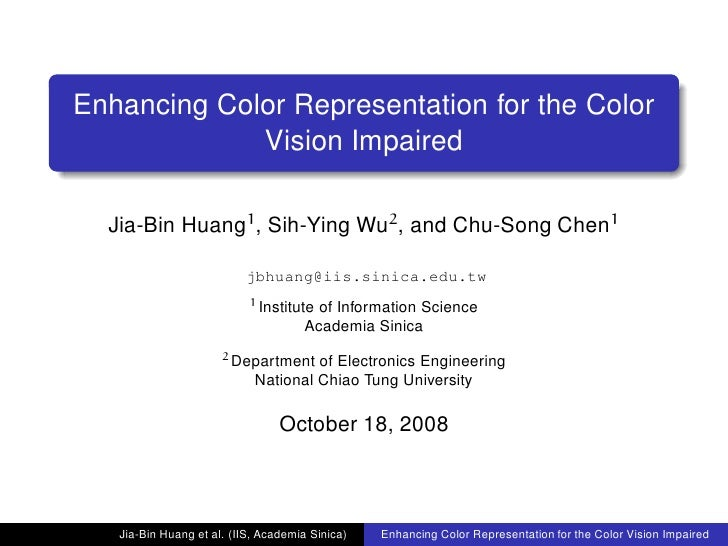 Enhancing Color Representation for the Color Vision Impaired (CVAVI 2008)