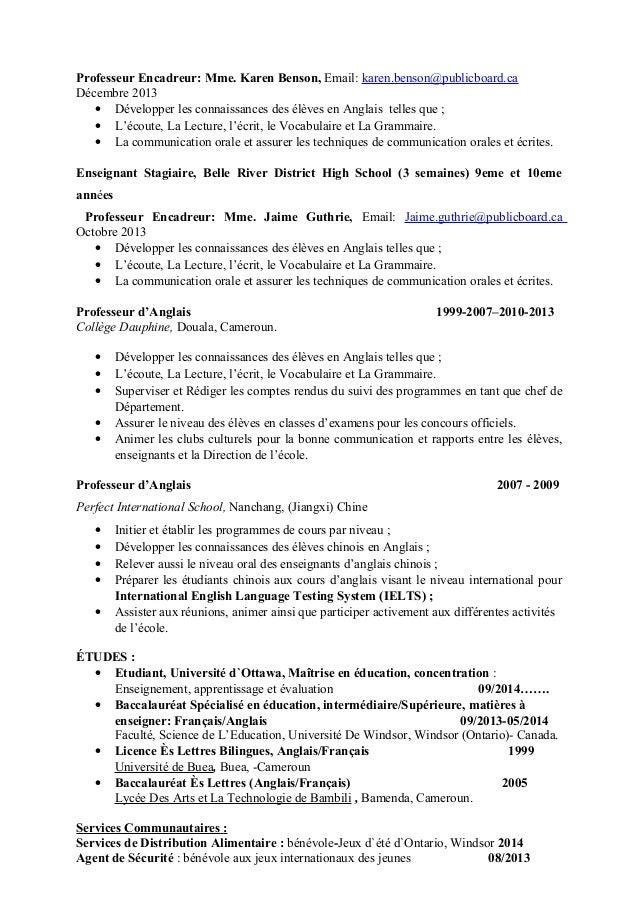 Professeur Encadreur: Mme. Karen Benson, Email: karen.benson@publicboard.ca Décembre 2013 • Développer les connaissances d...