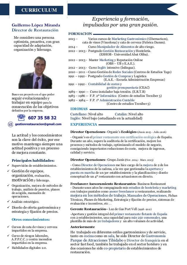 Cv Director de Operaciones - Guillermo López 2016