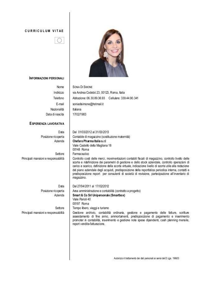 Curriculum Vitae Formato Europeo Con Fotografia Website That Helps