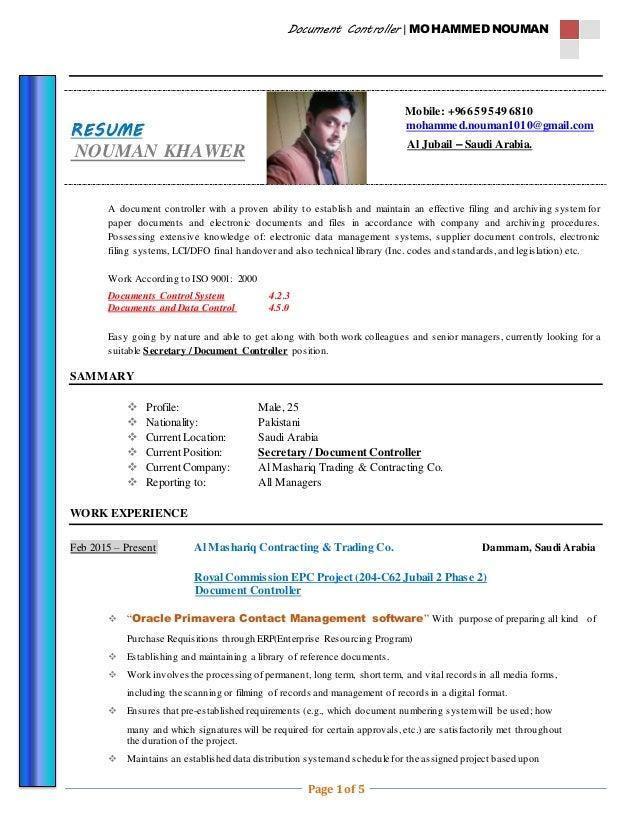 Cv Document Controller Nauman Khawar