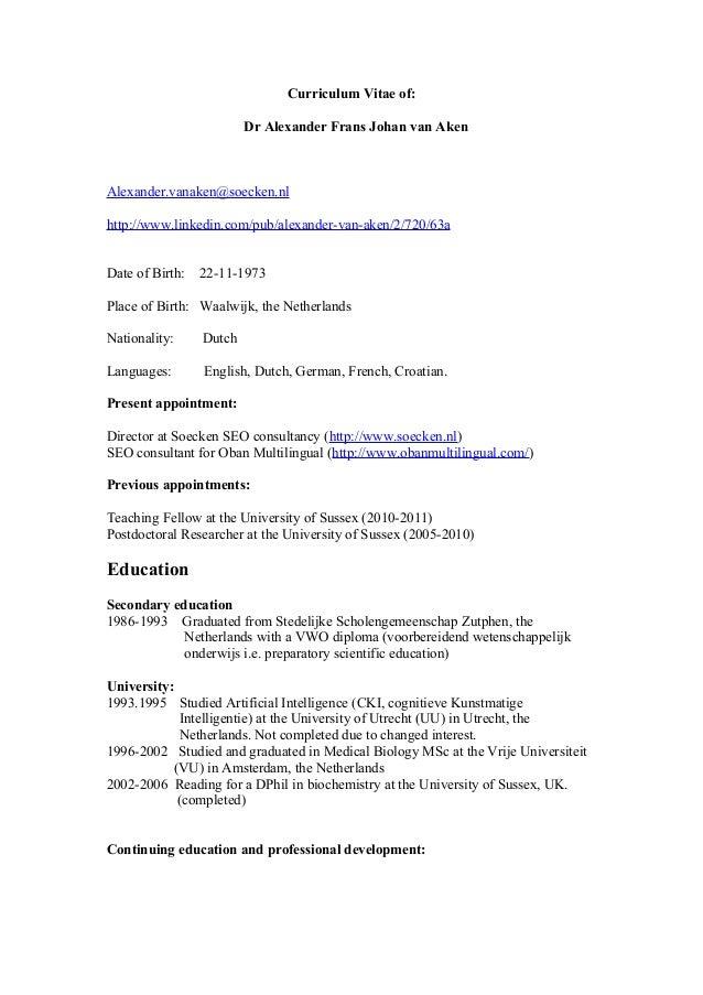 cv dr alexander van aken academisch