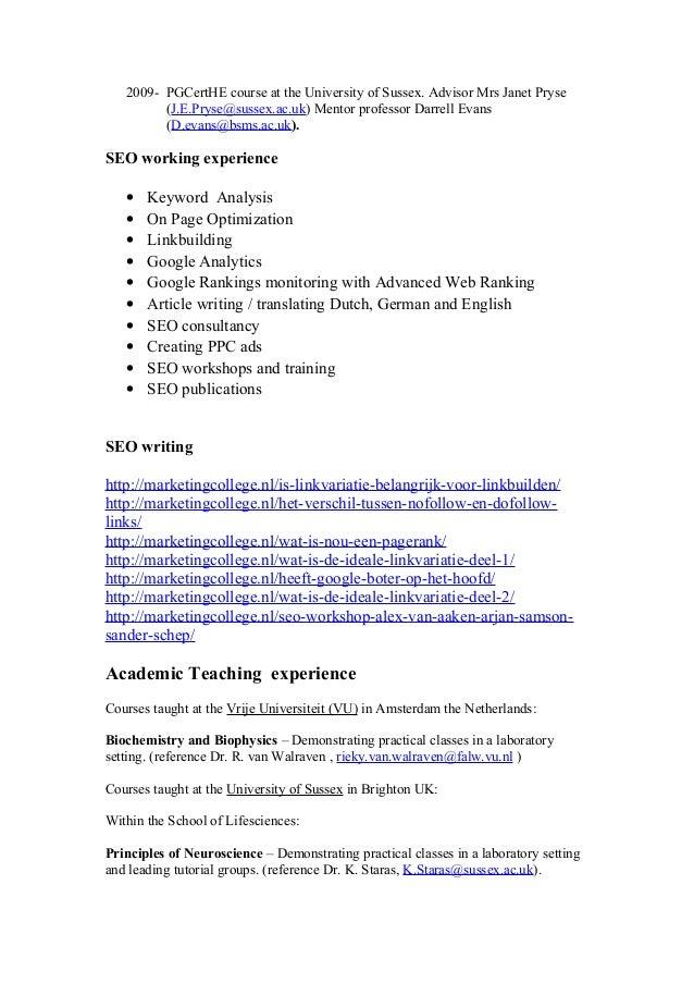 curriculum vitae academisch