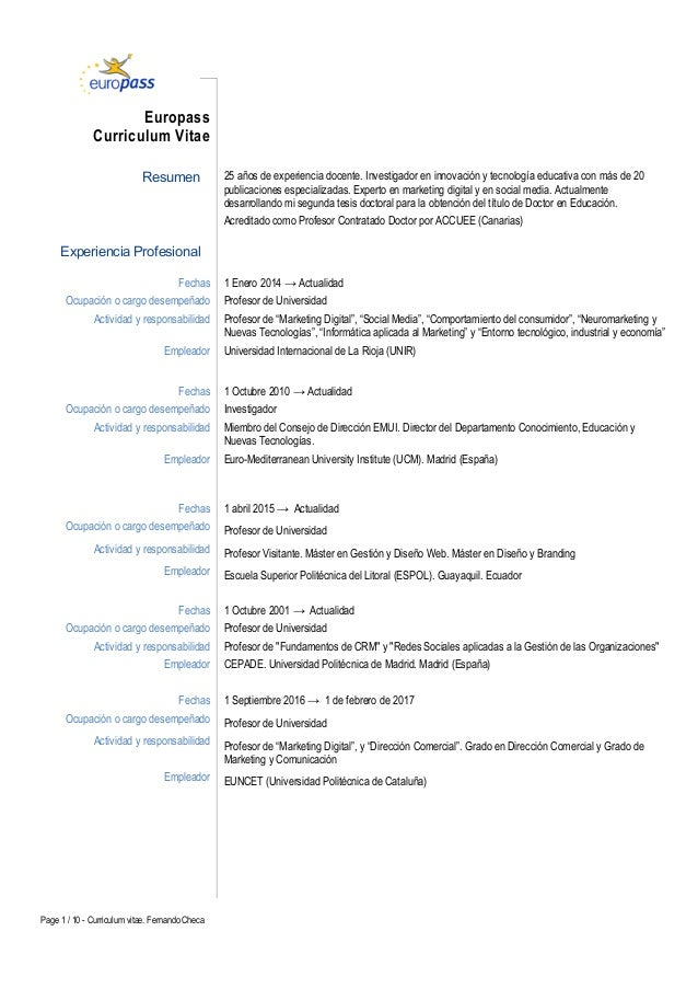 Curriculum Vitae académico Fernando Checa