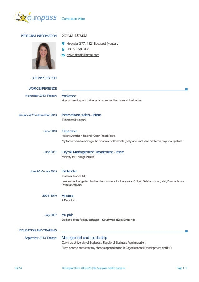 curriculum vitae personal information szilvia dzsida hegyalja t 77 1124 budapest hungary - How To Write A Curriculum Vitae For Internship