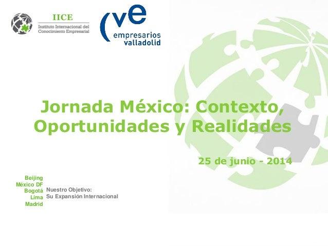 Beijing México DF Bogotá Lima Madrid Nuestro Objetivo: Su Expansión Internacional Jornada México: Contexto, Oportunidades ...