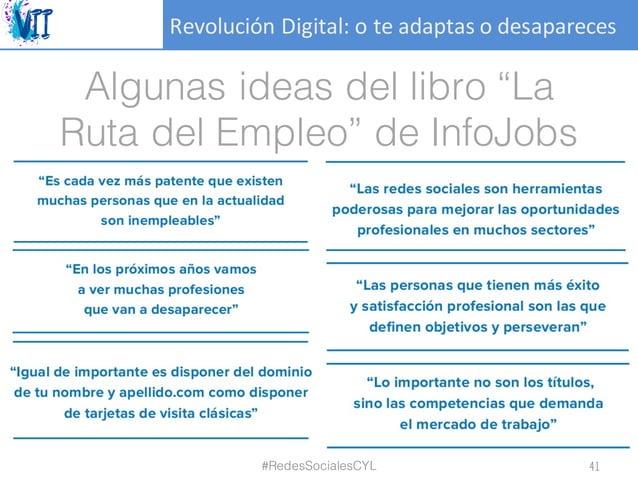 """RevoluciónDigital:oteadaptasodesapareces Algunas ideas del libro """"La Ruta del Empleo"""" de InfoJobs #RedesSocialesCYL ..."""
