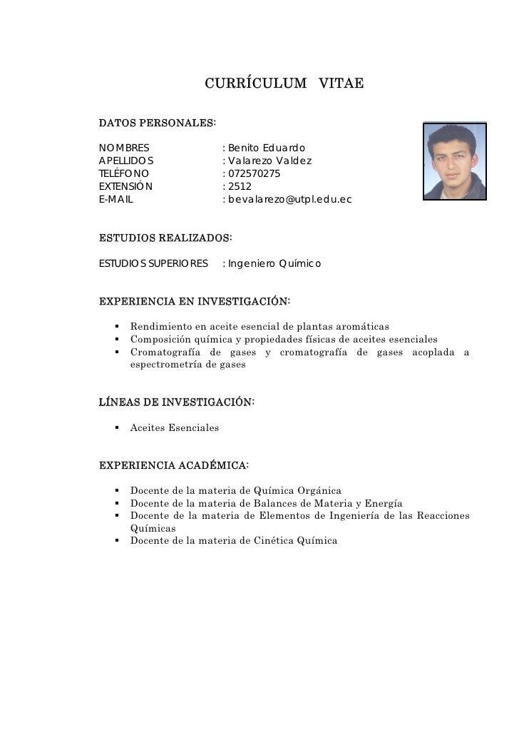 currculum vitae datos personales nombres benito eduardo apellidos
