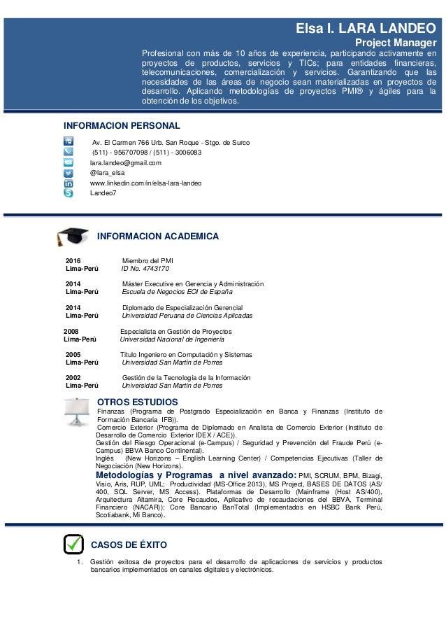 INFORMACION PERSONAL Av. El Carmen 766 Urb. San Roque - Stgo. de Surco (511) - 956707098 / (511) - 3006083 lara.landeo@gma...