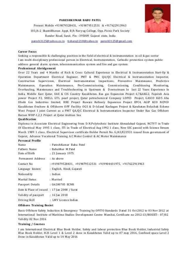 Cv Electrical. PARESHKUMAR BABU PATEL Present Mobile +919879528431,  +919879512531 U0026 +917622913963 103/A ...  Electrical Technician Resume