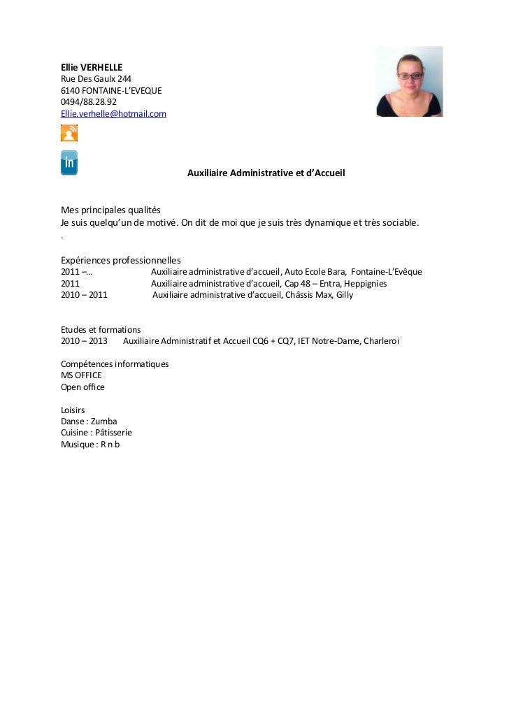 cv agent administrative ellie verhelle