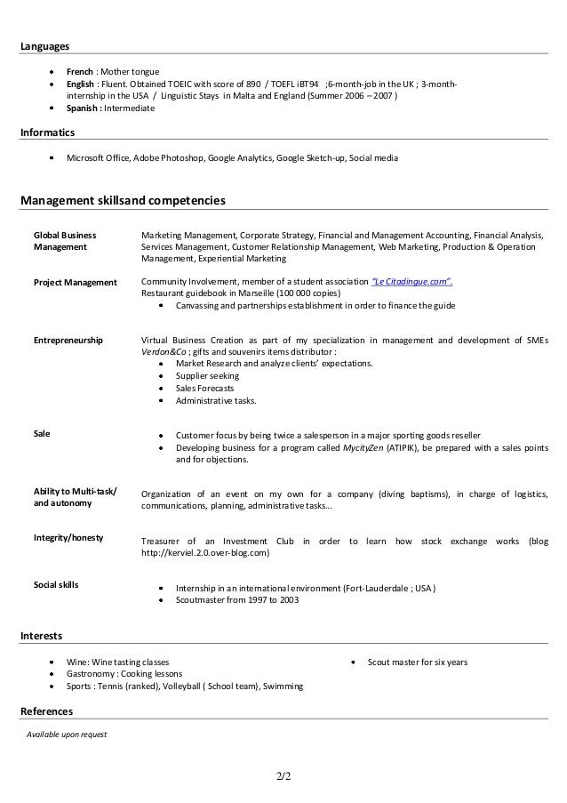 fluent in english resume