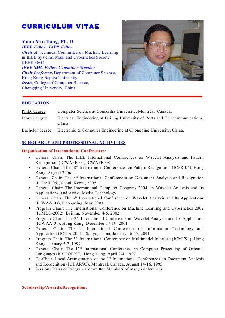 curriculum vitae yuan yan tang ph d ieee fellow iapr fellow chair