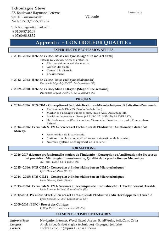 cv pour un contrat d u0026 39 apprentissage