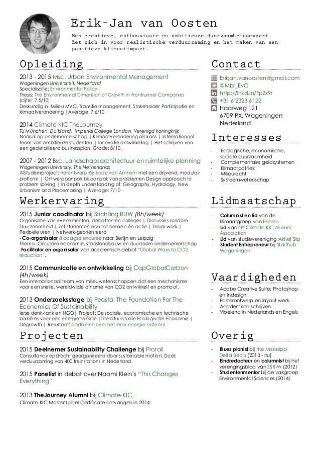 academisch cv CV Erik Jan van Oosten [NL]