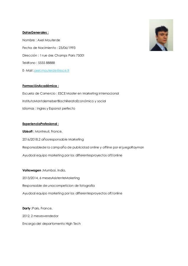 Modelo Curriculum Vitae Espa Ol Testwordpress Wddemo Net