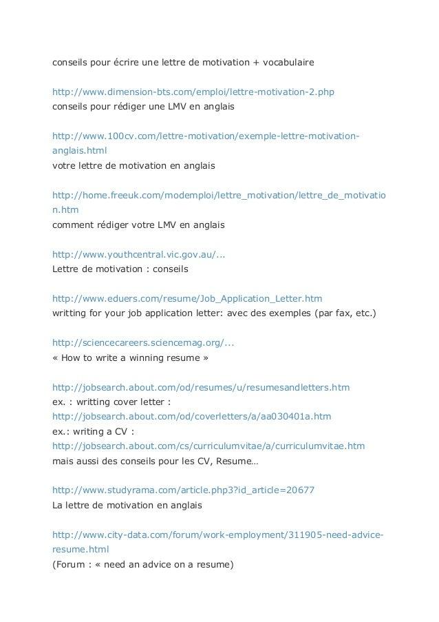 cv et lettres de motivation en anglais