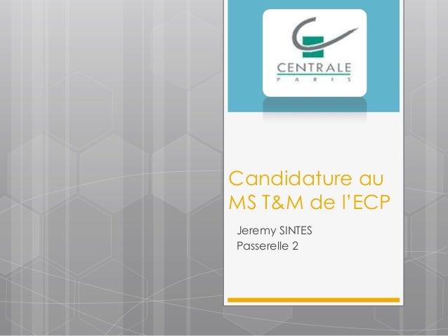 Candidature auMS T&M de l'ECPJeremy SINTESPasserelle 2
