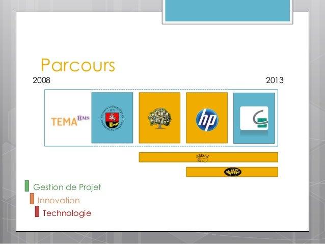 Parcours2008                2013Gestion de Projet Innovation  Technologie