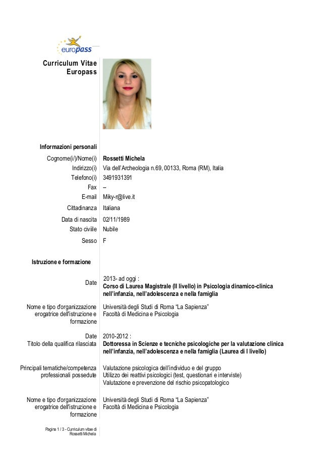 CV EUROPASS INGLESE SCARICA
