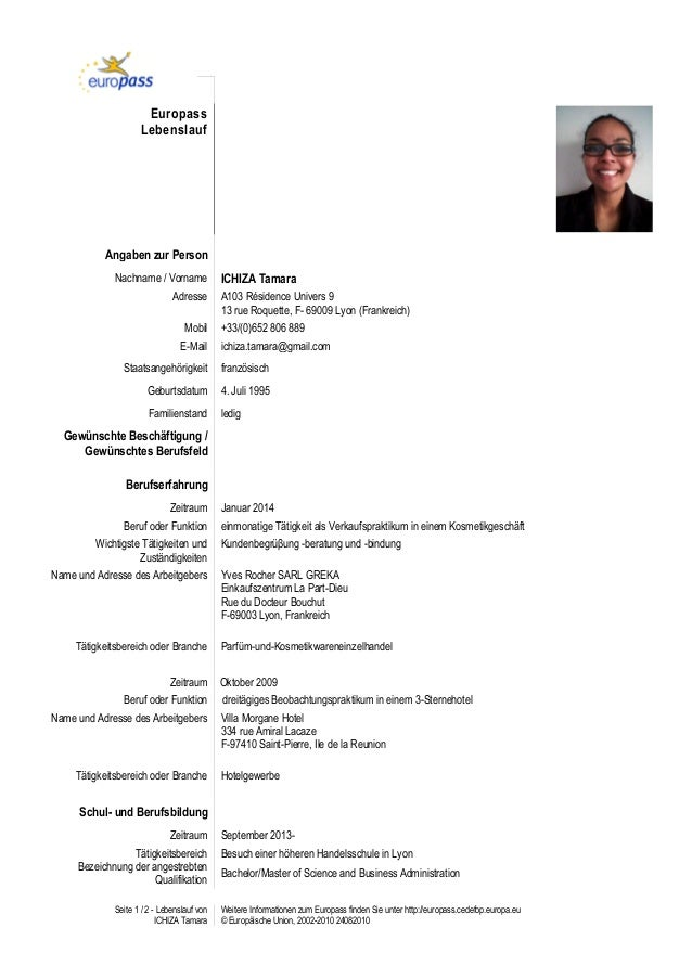 seite 1 2 lebenslauf von ichiza tamara weitere informationen zum europass finden sie unter
