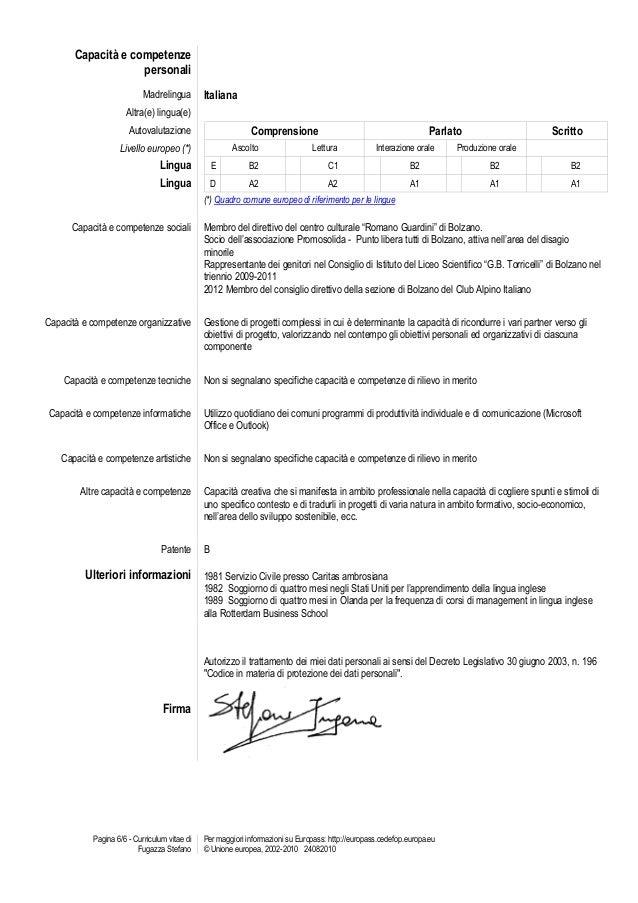 Esempio Curriculum Vitae Europass Gi Compilato Mdt Studio98test Com