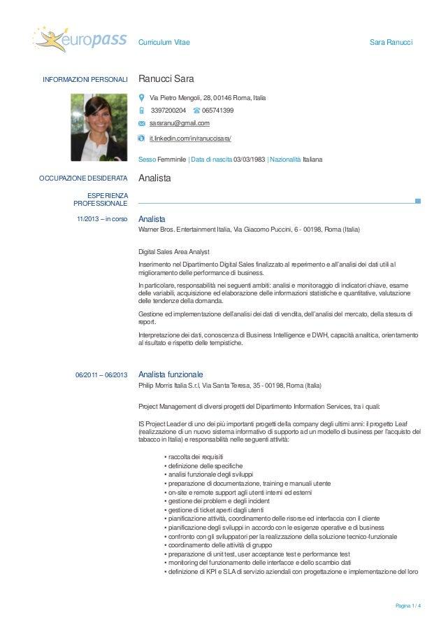 curriculum vitae europass esempio studente